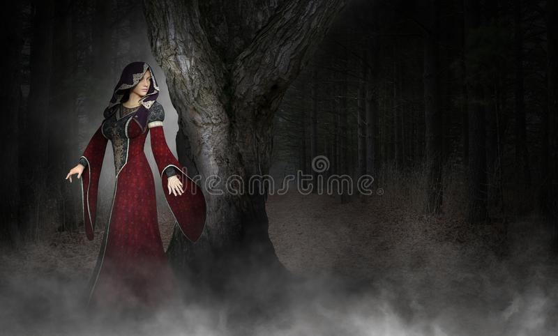 Mujer medieval surrealista misteriosa, bosque ilustración del vector