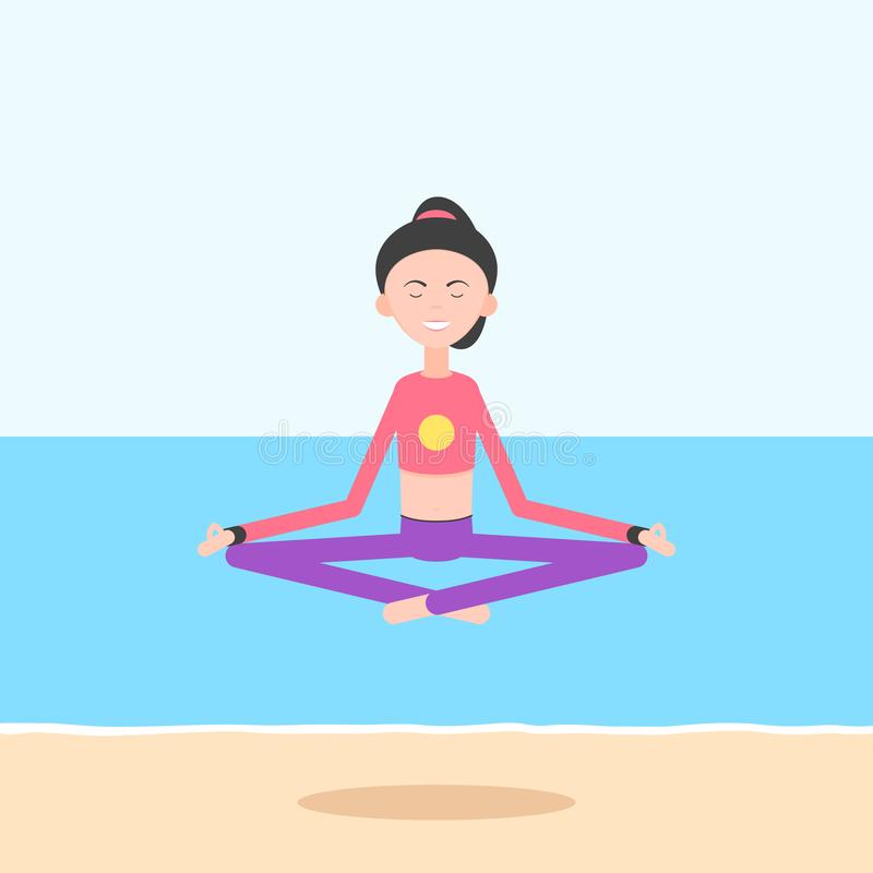 Mujer meditating en la playa libre illustration