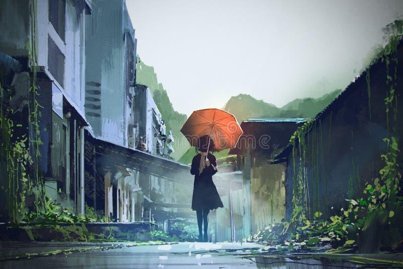 Mujer misteriosa con el paraguas anaranjado libre illustration