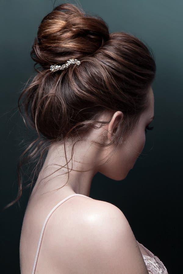 Mujer modelo del brunett con el peinado perfecto y el pelo-vestido creativo, visión trasera imagen de archivo