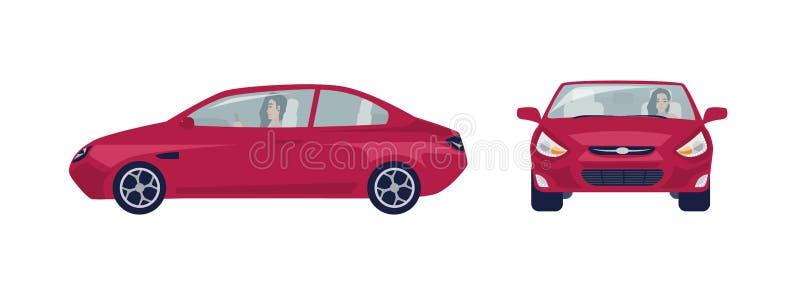 Mujer morena de pelo largo que conduce el coche rojo del sedán Conductor femenino y su automóvil Vistas delanteras y laterales hi libre illustration