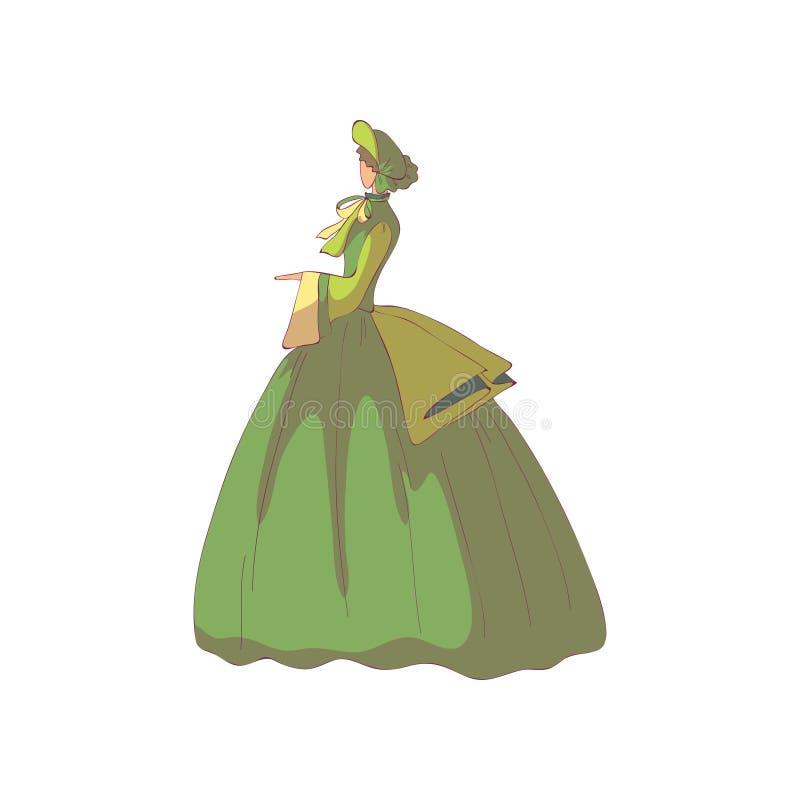 Mujer morena en un vestido y un sombrero pasados de moda verdes Ilustraci?n del vector en el fondo blanco ilustración del vector