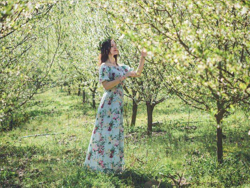 Mujer morena hermosa joven en árboles largos del flor de la primavera del vestido imagen de archivo