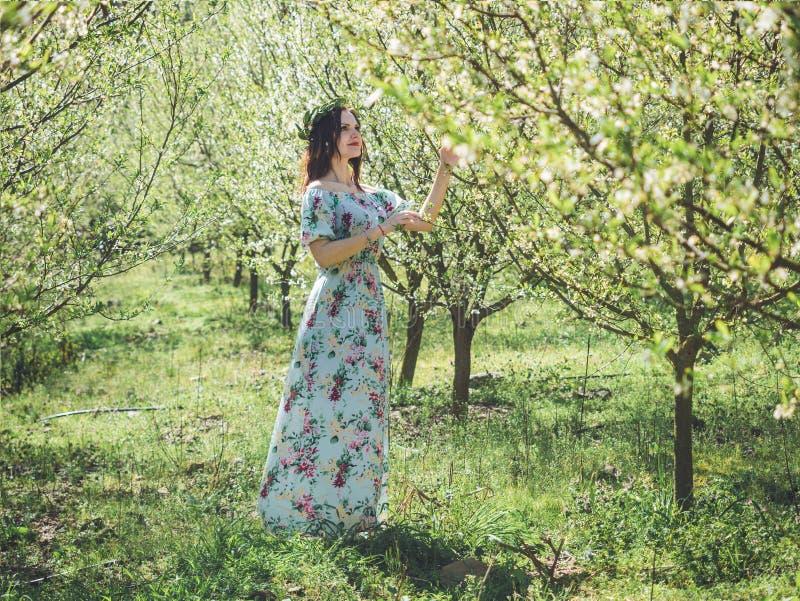 Mujer morena hermosa joven en árboles largos del flor de la primavera del vestido foto de archivo