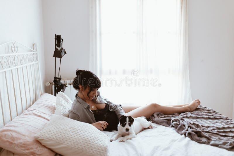 Mujer morena hermosa que juega con el perrito mientras que miente en cama en el dormitorio imágenes de archivo libres de regalías