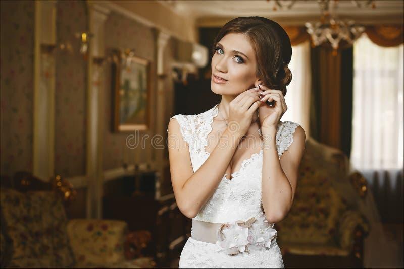 Mujer morena joven atractiva hermosa, con los ojos azules y el maquillaje brillante de la tarde, con el cuerpo delgado perfecto y imágenes de archivo libres de regalías