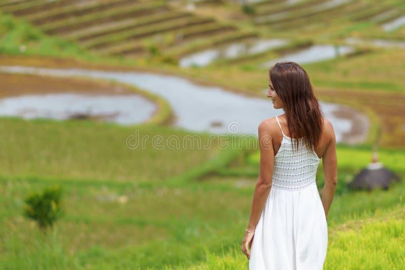 Mujer morena joven que da vuelta a su parte posterior que presenta contra la perspectiva de campos del arroz Cierre para arriba foto de archivo