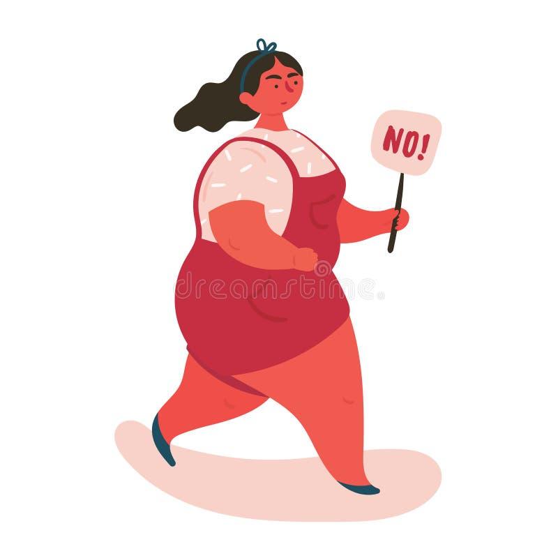 Mujer morena que expresa la negación NO stock de ilustración