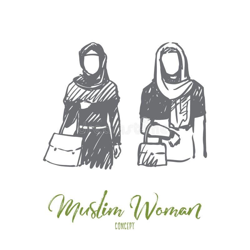 Mujer musulmán, árabe, Islam, concepto del hijab Vector aislado dibujado mano libre illustration