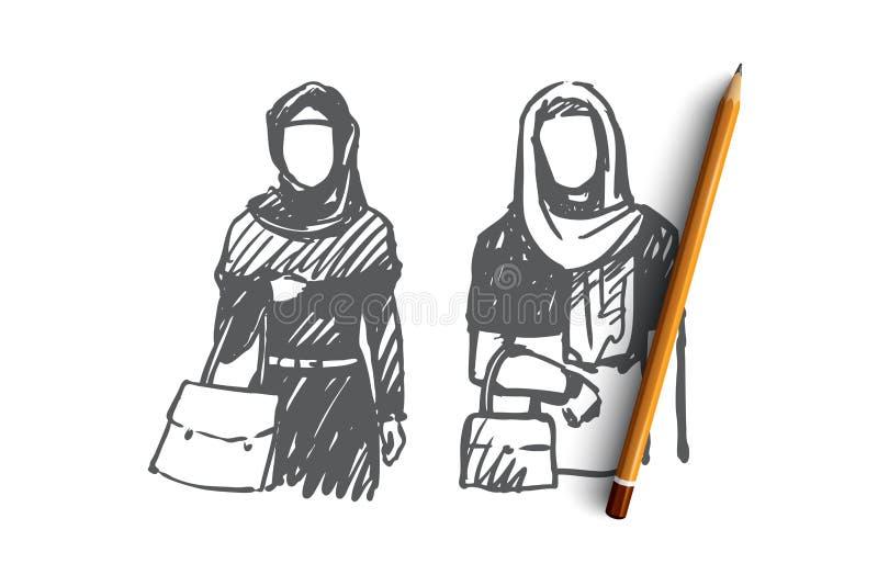 Mujer musulmán, árabe, Islam, concepto del hijab Vector aislado dibujado mano ilustración del vector