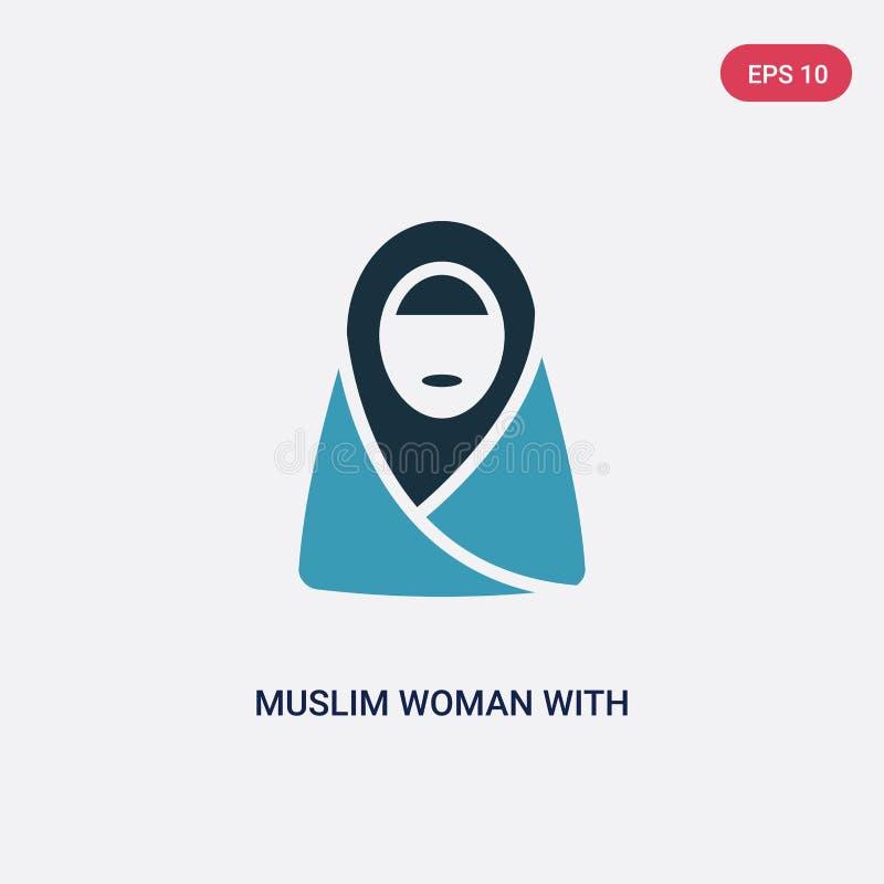 Mujer musulmán bicolor con el icono del vector del hijab del otro concepto la mujer musulmán azul aislada con símbolo de la muest stock de ilustración