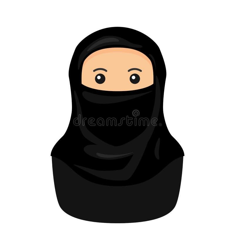 Mujer musulmán con el icono plano de Niqab Avatar ilustración del vector
