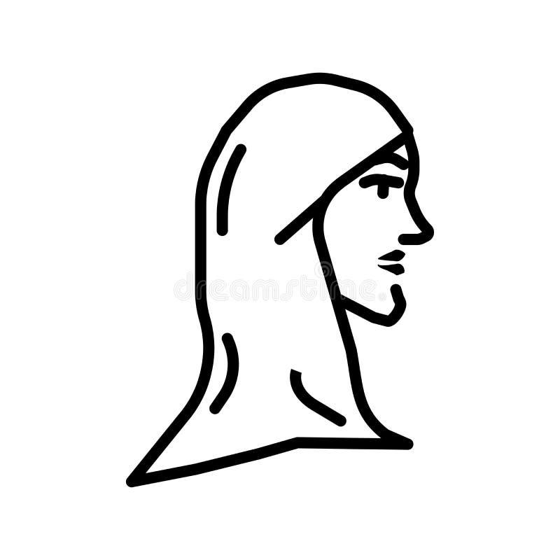 Mujer musulmán con vector del icono de Hijab aislada en el fondo blanco, mujer musulmán con la muestra de Hijab ilustración del vector