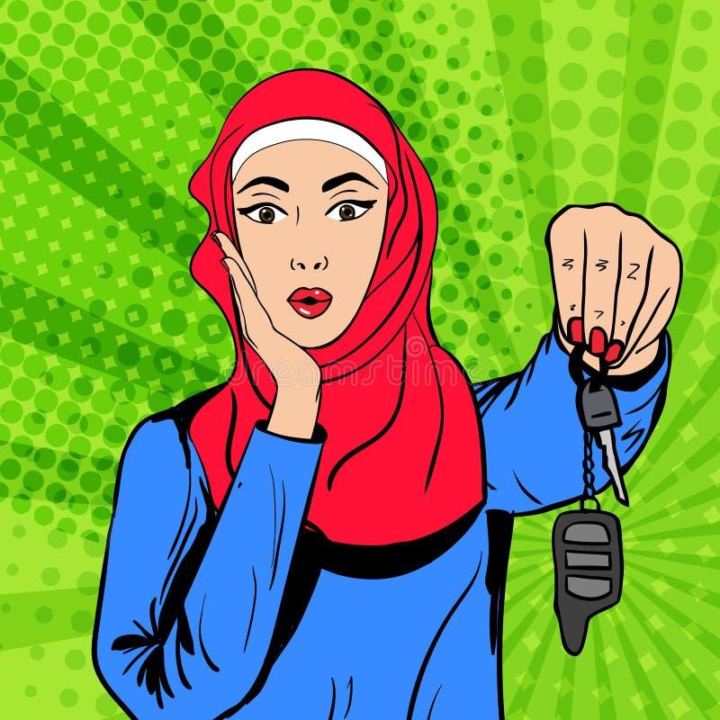 Mujer musulmán del arte pop del vector con llaves libre illustration