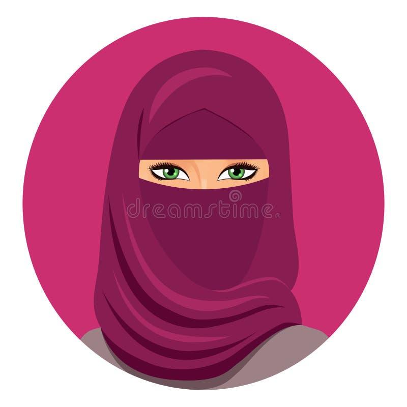 Mujer musulmán en cara cerrada del avatar del hijab Mujer árabe en un hijab Aislado Vector Retrato de la mujer del saudí en un hi stock de ilustración