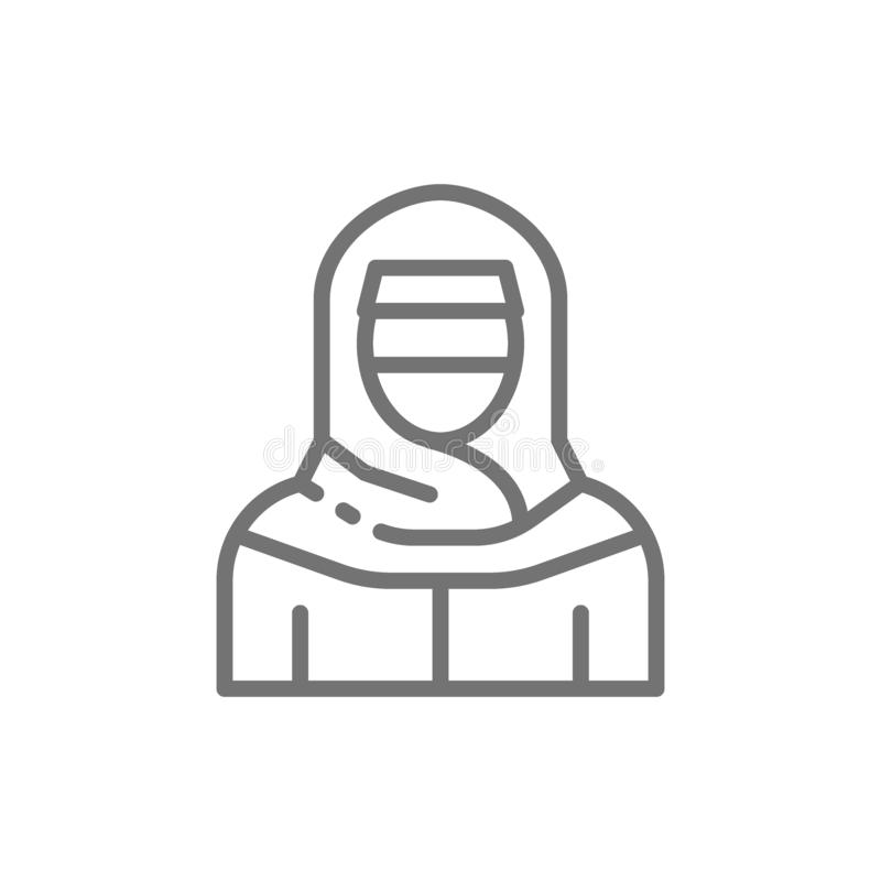 Mujer musulmán en el niqab, línea árabe tradicional icono del vestido libre illustration