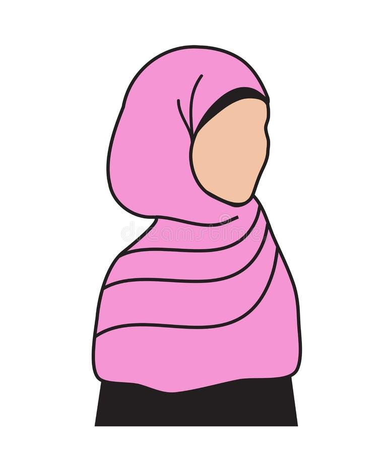 Mujer musulmán en una bufanda rosada Ninguna cara ilustración del vector