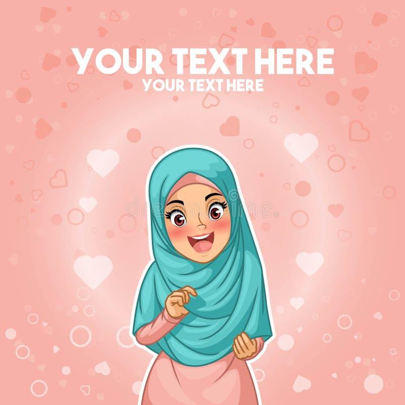 Mujer musulmán feliz con su hijab sosteniendo su pañuelo stock de ilustración
