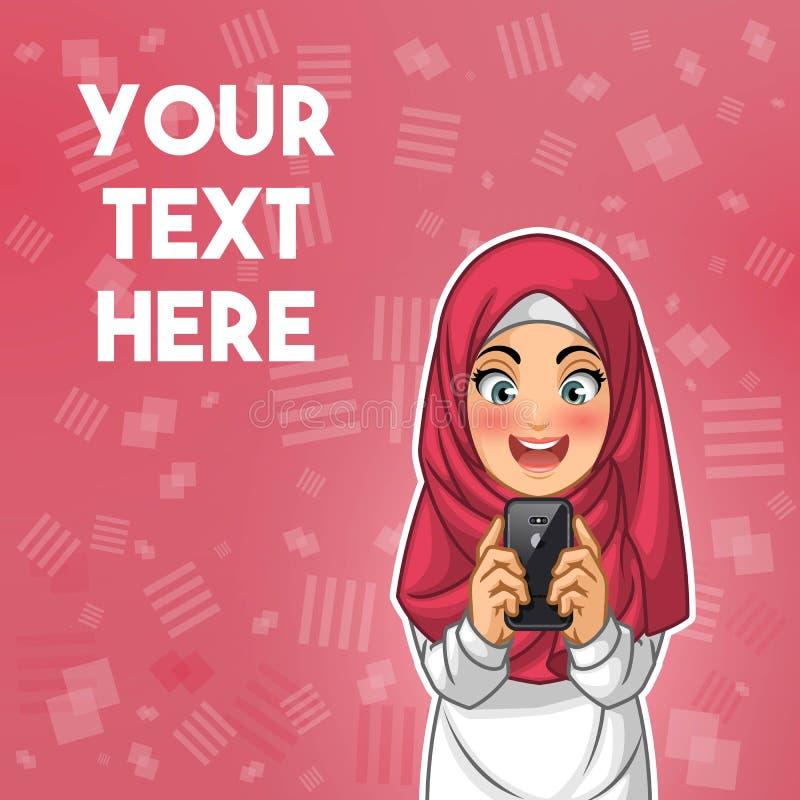 Mujer musulmán feliz mientras que mira su ejemplo del vector del smartphone stock de ilustración