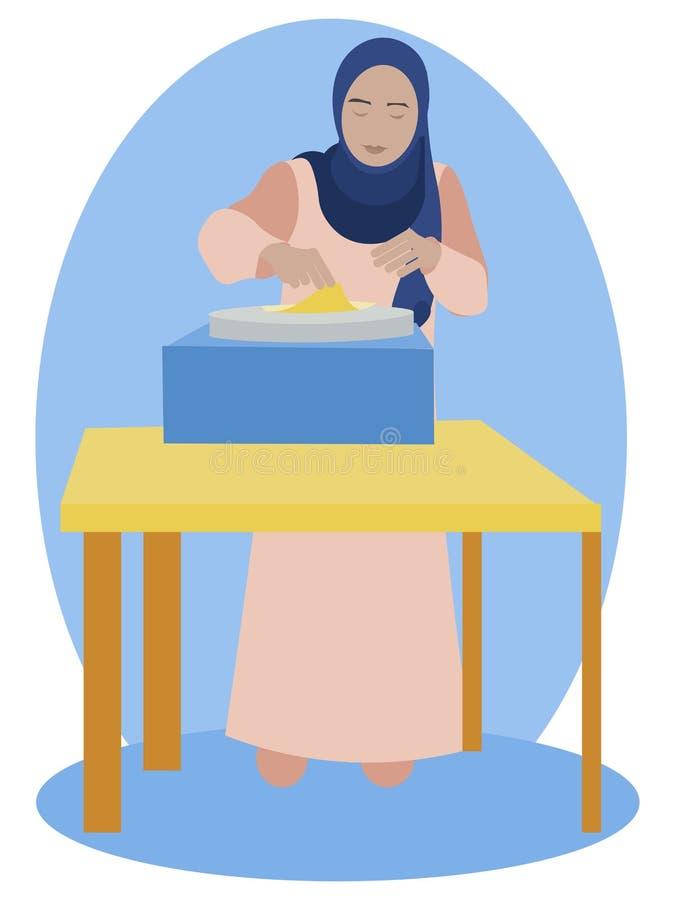 Mujer musulmán que cocina las crepes En vector plano de la historieta minimalista del estilo libre illustration