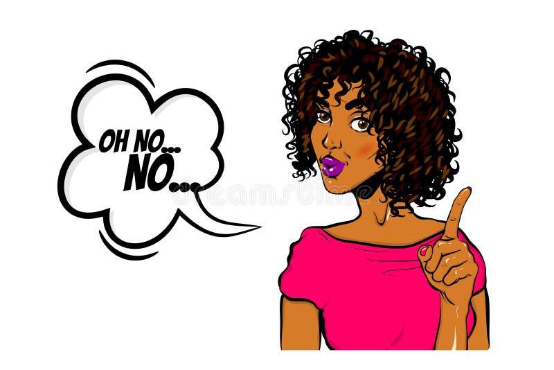 Mujer negra arte pop Wow no mostrar el dedo libre illustration