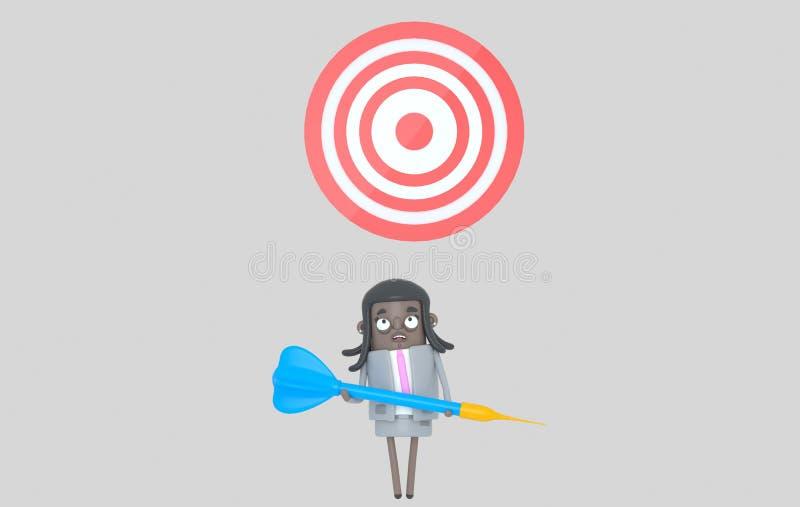 Mujer negra del negocio que sostiene un dardo azul grande dartboard Aislado libre illustration