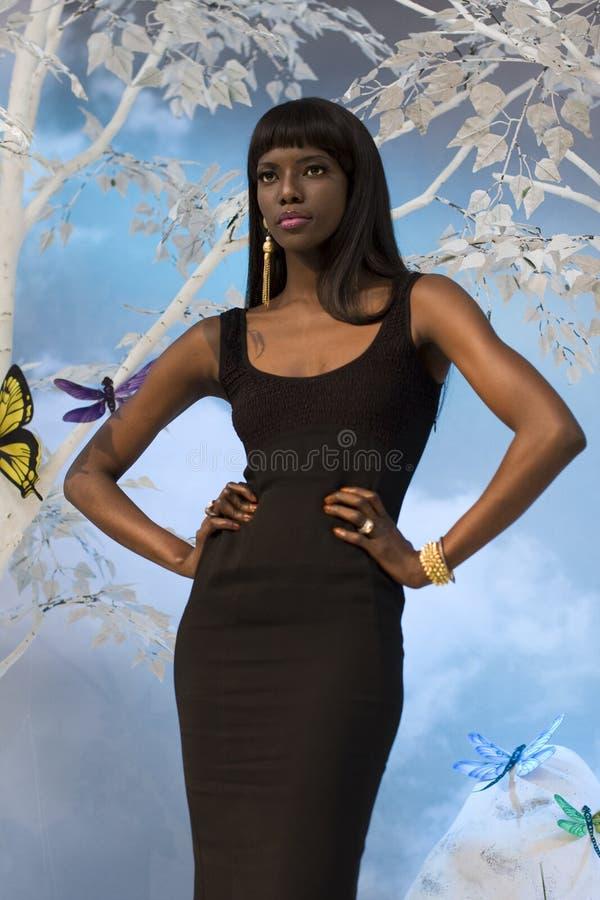 Mujer negra elegante fotografía de archivo