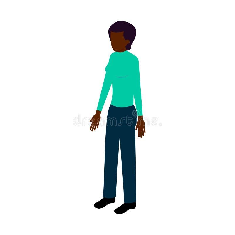 Mujer negra isométrica stock de ilustración