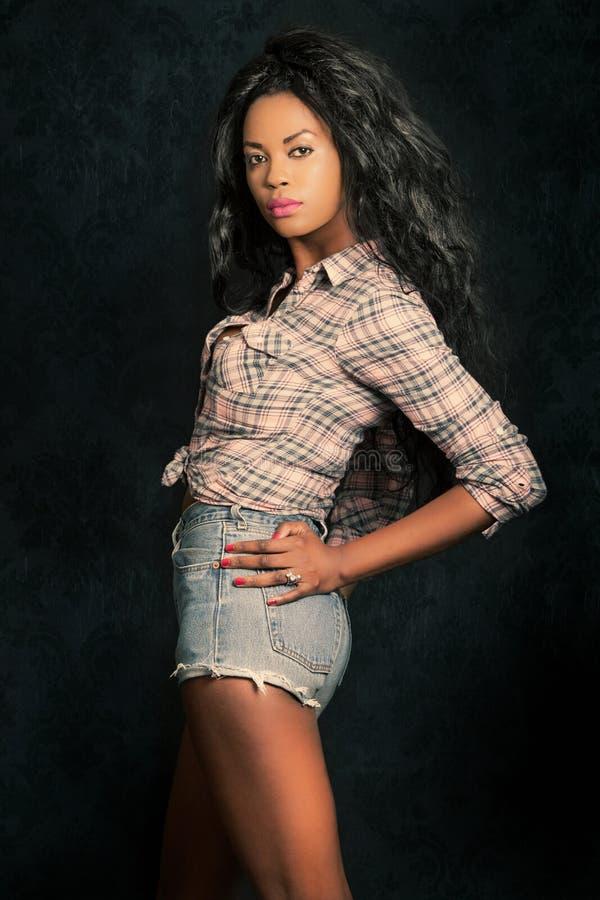 Mujer negra joven hermosa Modelo afroamericano con el fondo del vintage imagenes de archivo