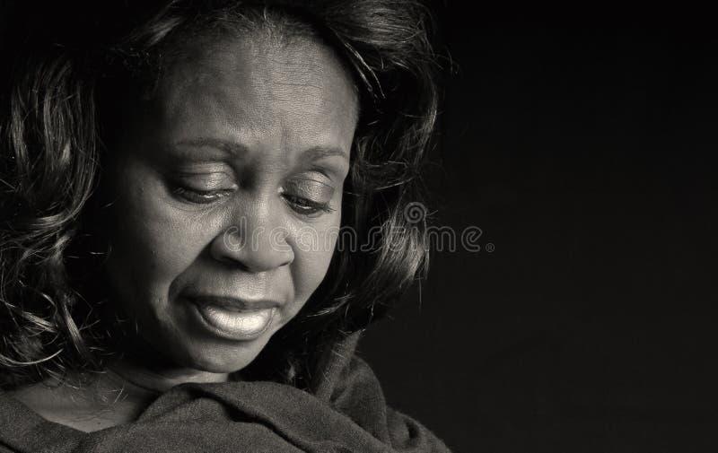 Mujer negra pensativa fotografía de archivo libre de regalías