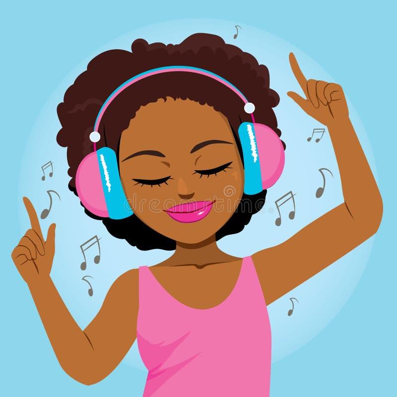 Mujer negra que disfruta de música ilustración del vector
