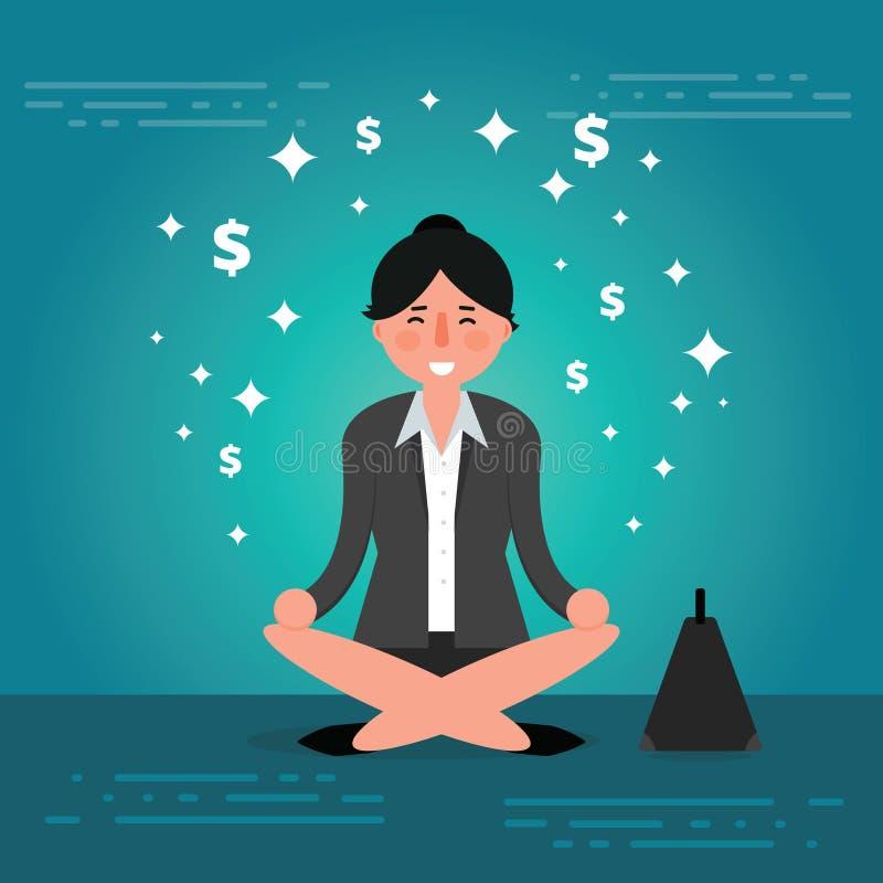 Mujer o agente joven acertada de negocios que medita o que se relaja ilustración del vector