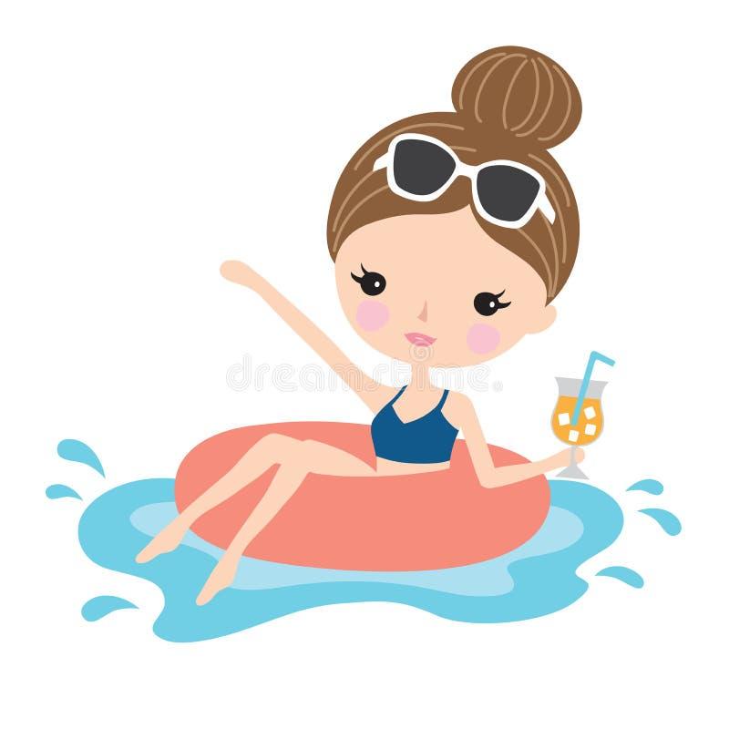 Mujer o muchacha en la piscina ilustración del vector