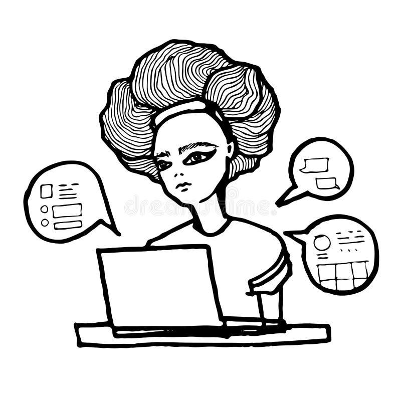 Mujer o muchacha que se sienta con el ordenador Educación, funcionamiento o compras en línea stock de ilustración