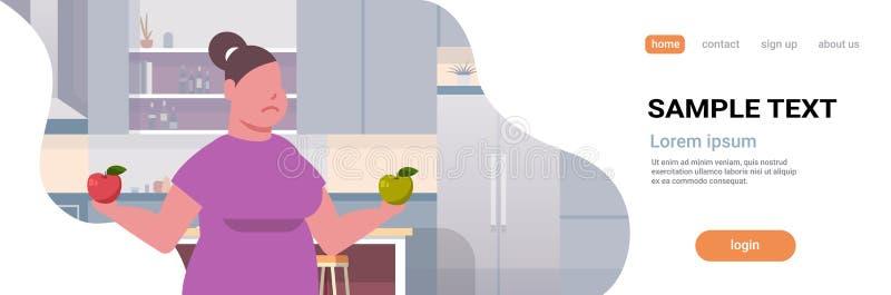 Mujer obesa gorda que lleva a cabo la nutrición sana de la muchacha de las manzanas de la consumición de las frutas de la obesida stock de ilustración