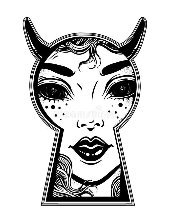Mujer oculta del diablo que mira furtivamente a través del ojo de la cerradura Arte del misterio del estilo de Boho ilustración del vector