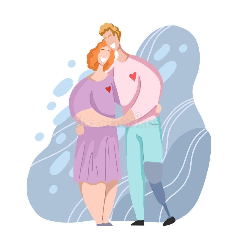 Mujer ordinaria y hombre de los pares románticos del abrazo con la prótesis de la pierna Relaciones y amor Fecha en estilo plano  stock de ilustración