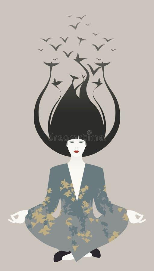 Mujer oriental joven hermosa que hace yoga Pájaros en su pelo stock de ilustración