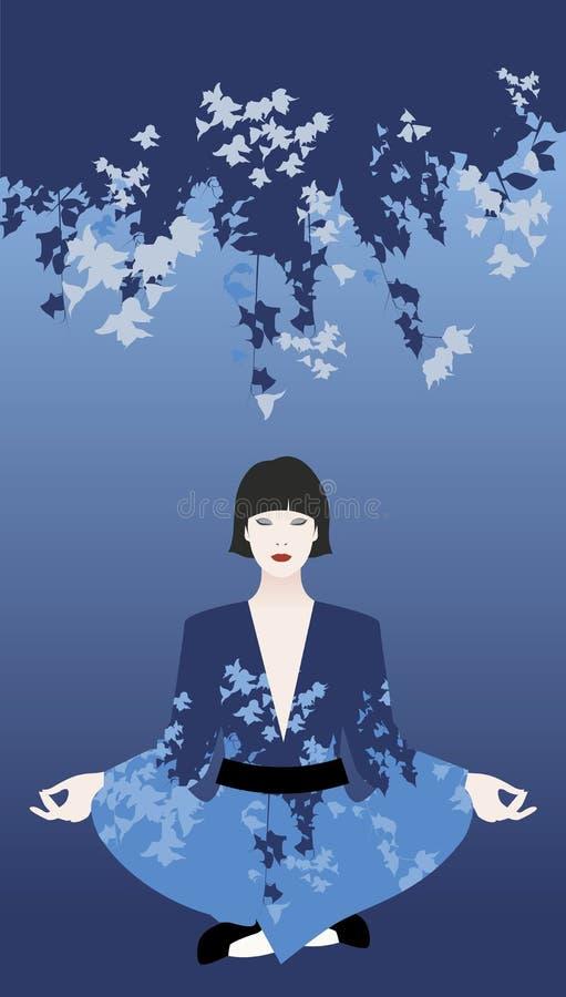 Mujer oriental joven hermosa que lleva un kimono que hace yoga debajo de las flores azules libre illustration