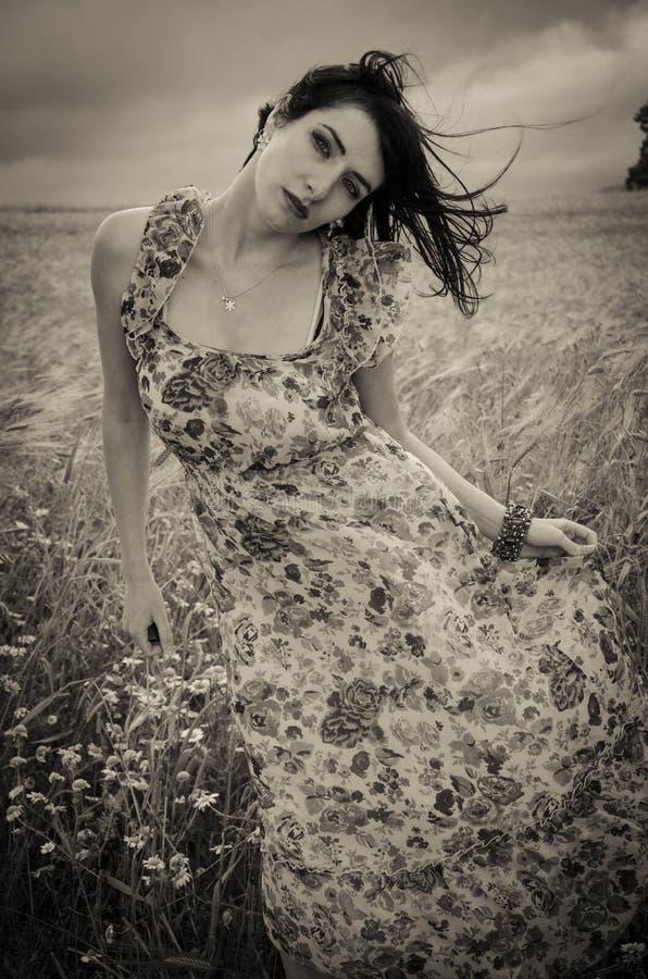 Download Mujer Oscura En Campo De Trigo Foto de archivo - Imagen de país, joven: 41921472