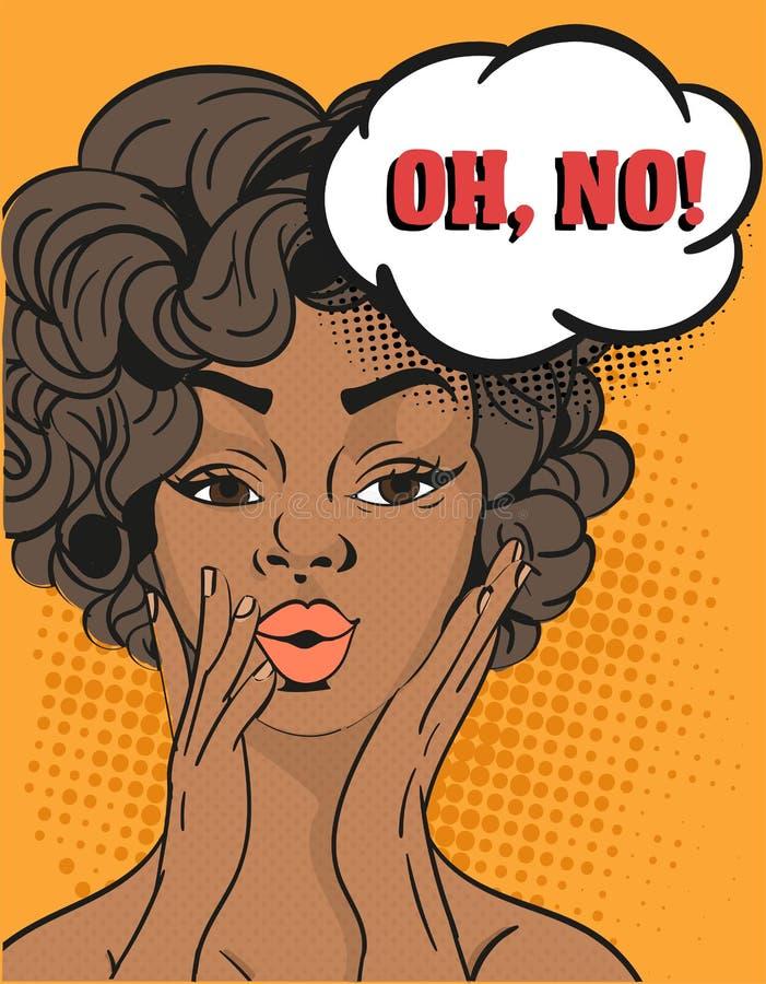 Mujer pelada oscura bonita que clama contra - oh, no aumentando sus manos a sus mejillas con una expresión en cuestión, estallido ilustración del vector