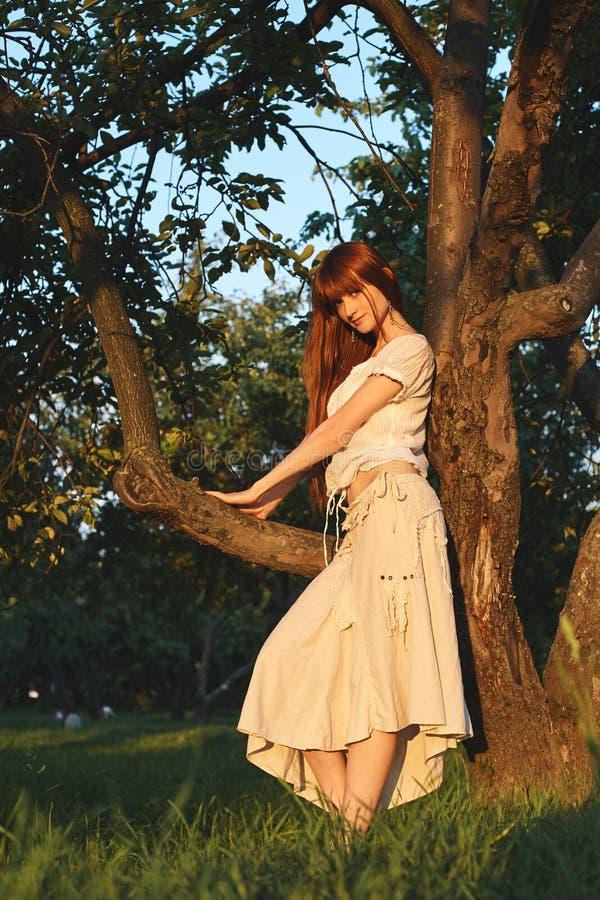 Mujer pelirroja hermosa joven en manzanar foto de archivo