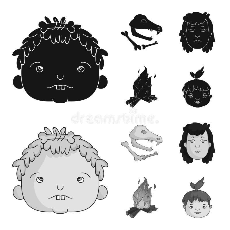 Mujer, pelo, cara, hoguera Iconos determinados de la colección de la Edad de Piedra en el ejemplo negro, monocromático de la acci ilustración del vector