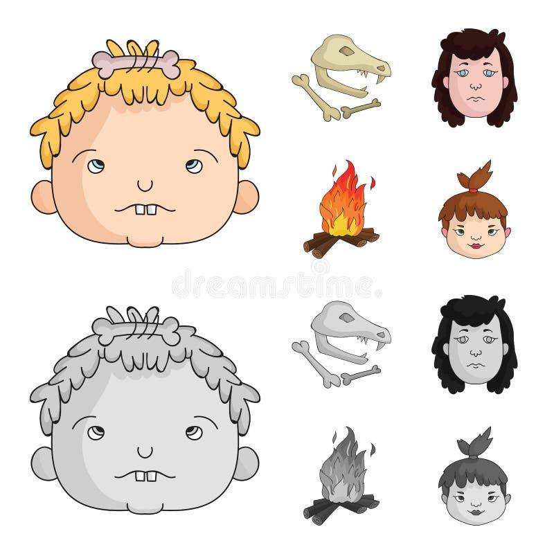 Mujer, pelo, cara, hoguera Iconos determinados de la colección de la Edad de Piedra en la historieta, ejemplo monocromático de la stock de ilustración