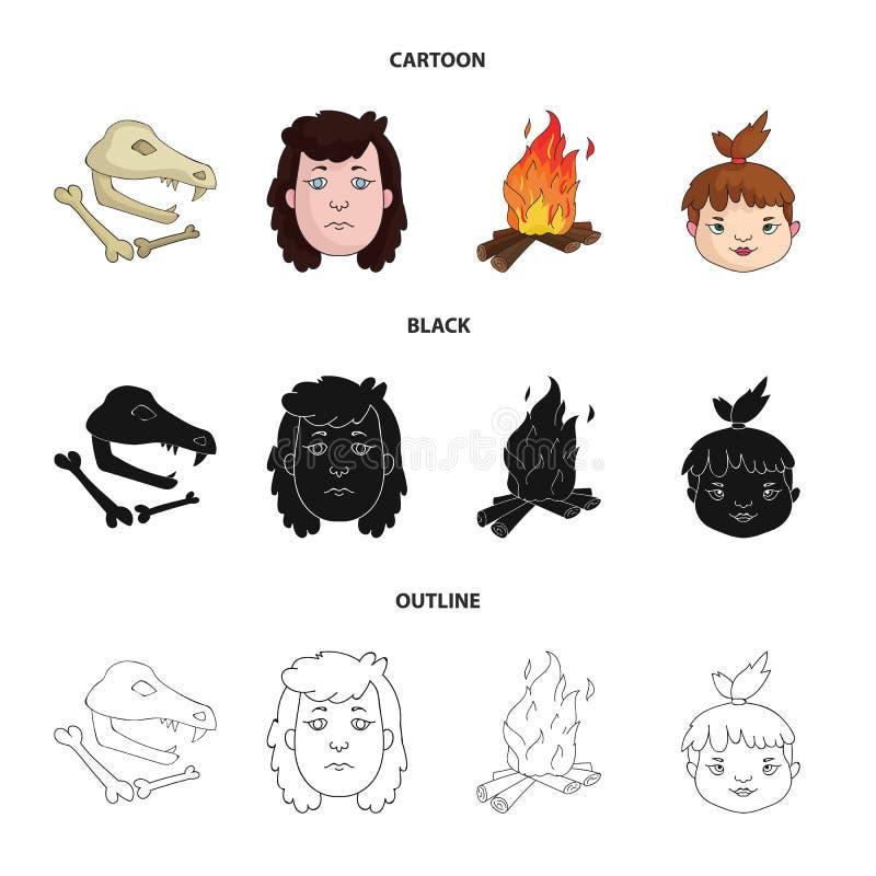 Mujer, pelo, cara, hoguera Iconos determinados de la colección de la Edad de Piedra en la historieta, negro, acción del símbolo d libre illustration