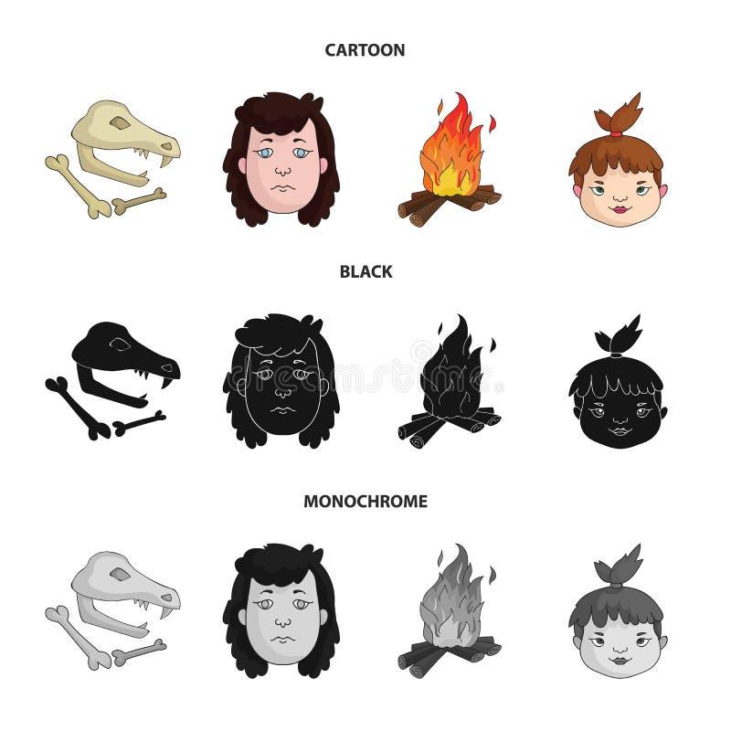 Mujer, pelo, cara, hoguera Iconos determinados de la colección de la Edad de Piedra en la historieta, negro, acción monocromática ilustración del vector
