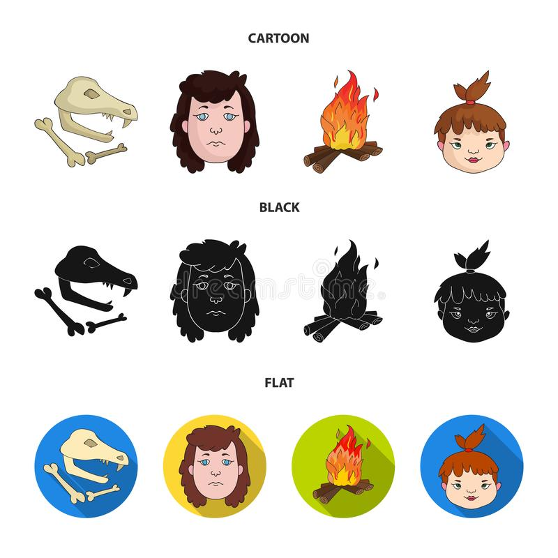 Mujer, pelo, cara, hoguera Iconos determinados de la colección de la Edad de Piedra en la historieta, negro, ejemplo plano de la  libre illustration