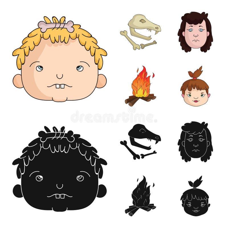 Mujer, pelo, cara, hoguera Iconos determinados de la colección de la Edad de Piedra en la historieta, web negro del ejemplo de la ilustración del vector