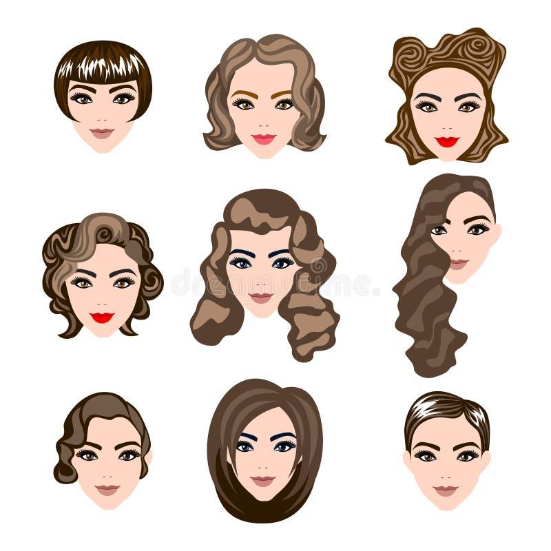 Mujer, pelo del hombre, silueta del peinado del vector libre illustration