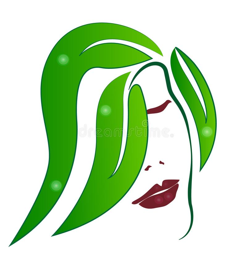 Mujer, pelo verde de la hoja, icono abstracto del salón de pelo ilustración del vector
